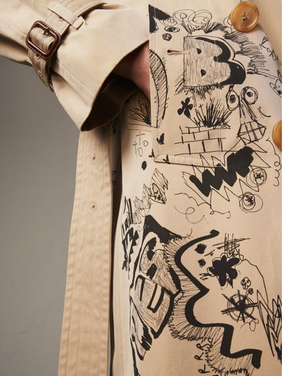 Doodle Print Cotton Gabardine Trench Coat in Honey - Men | Burberry - cell image 1