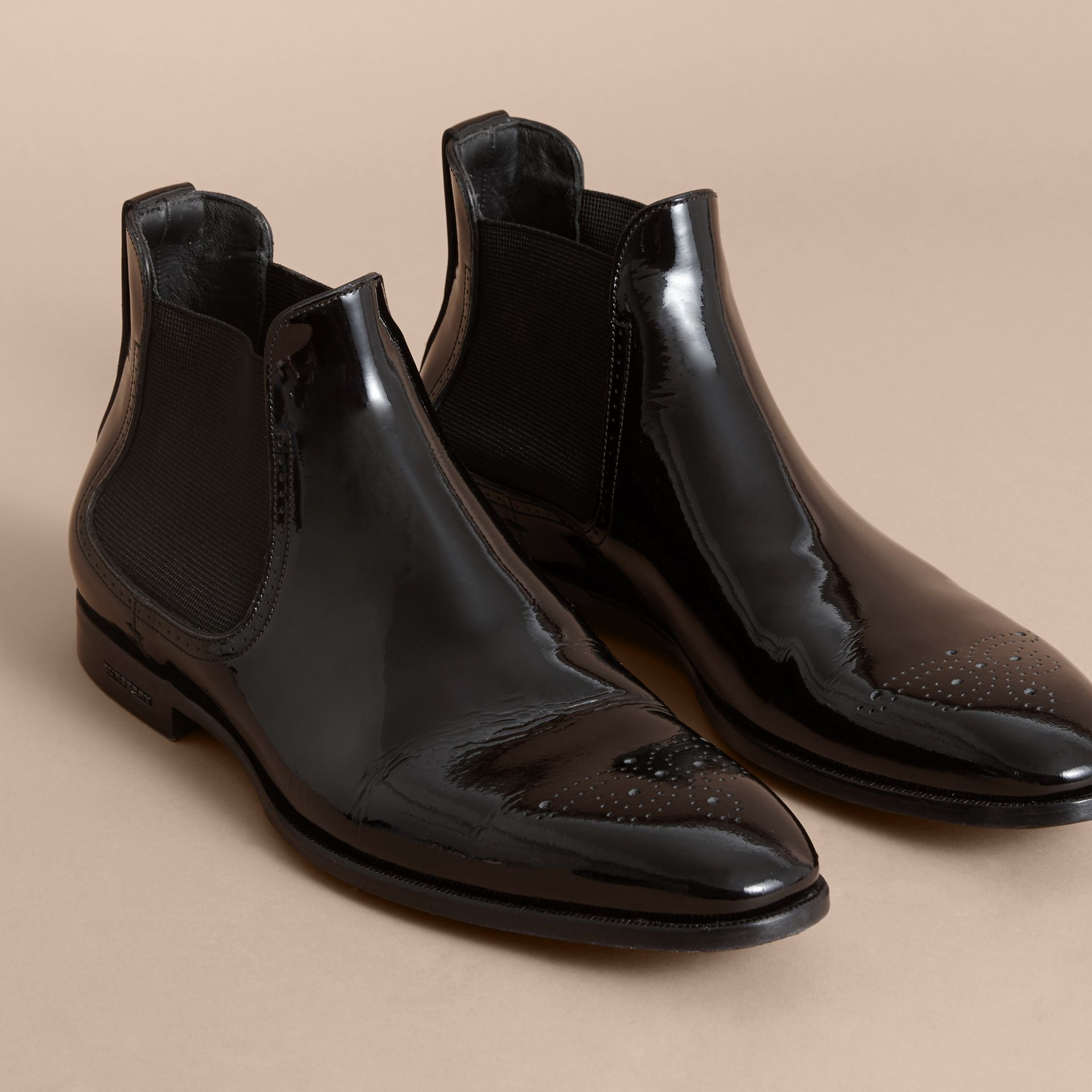 Polished Leather Chelsea Boots in Black - Men | Burberry Singapore - gallery image 4