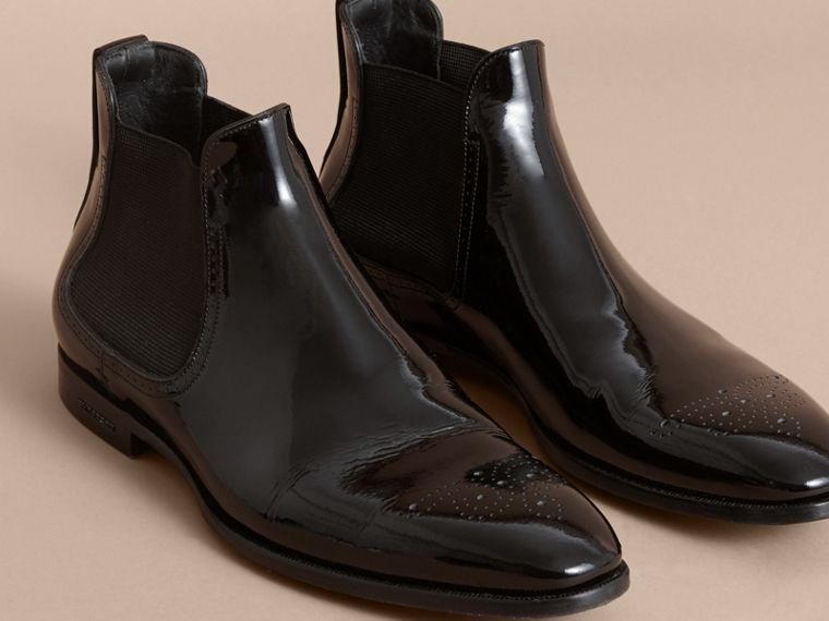 Polished Leather Chelsea Boots in Black - Men | Burberry Australia - cell image 4