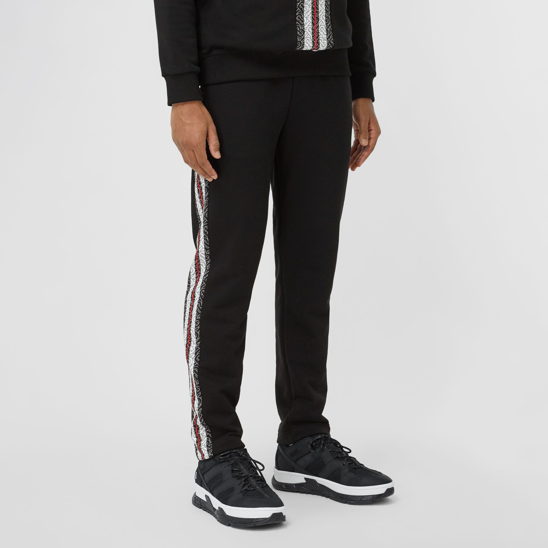 Monogram Stripe Panel Cotton Trackpants in Black - Men | Burberry Hong Kong S.A.R - gallery image 5