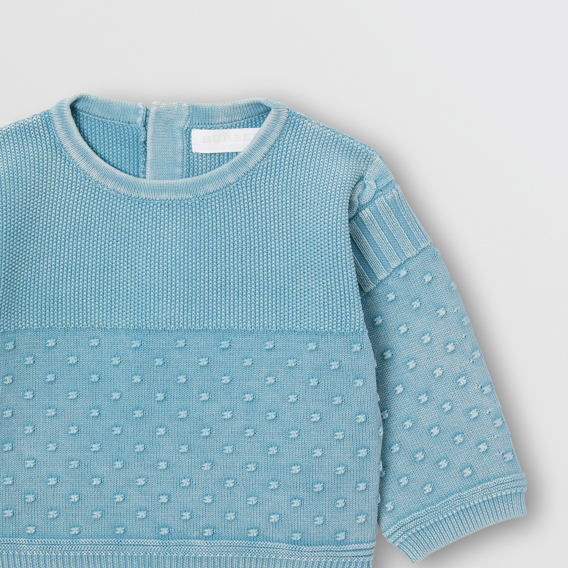 Contrast Knit Cotton Two-piece Baby Gift Set in Opal Blue - Children | Burberry - gallery image 6