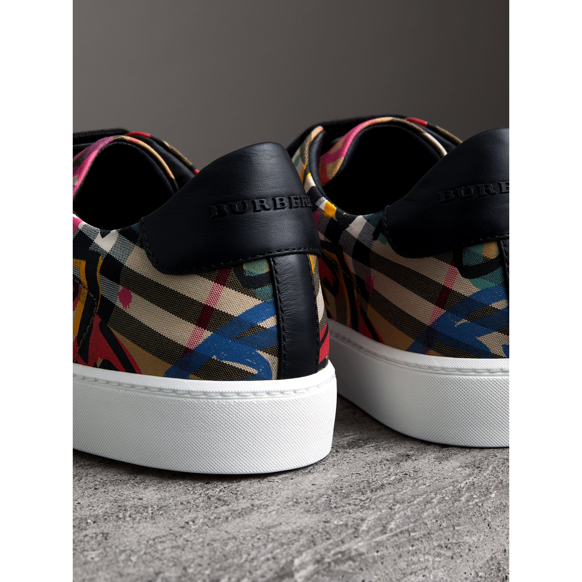 Graffiti Print Vintage Check Sneakers in Antique Yellow - Women | Burberry - gallery image 3
