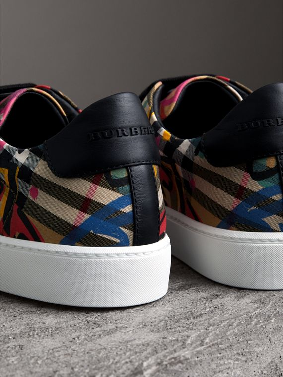 Graffiti Print Vintage Check Sneakers in Antique Yellow - Women | Burberry - cell image 3