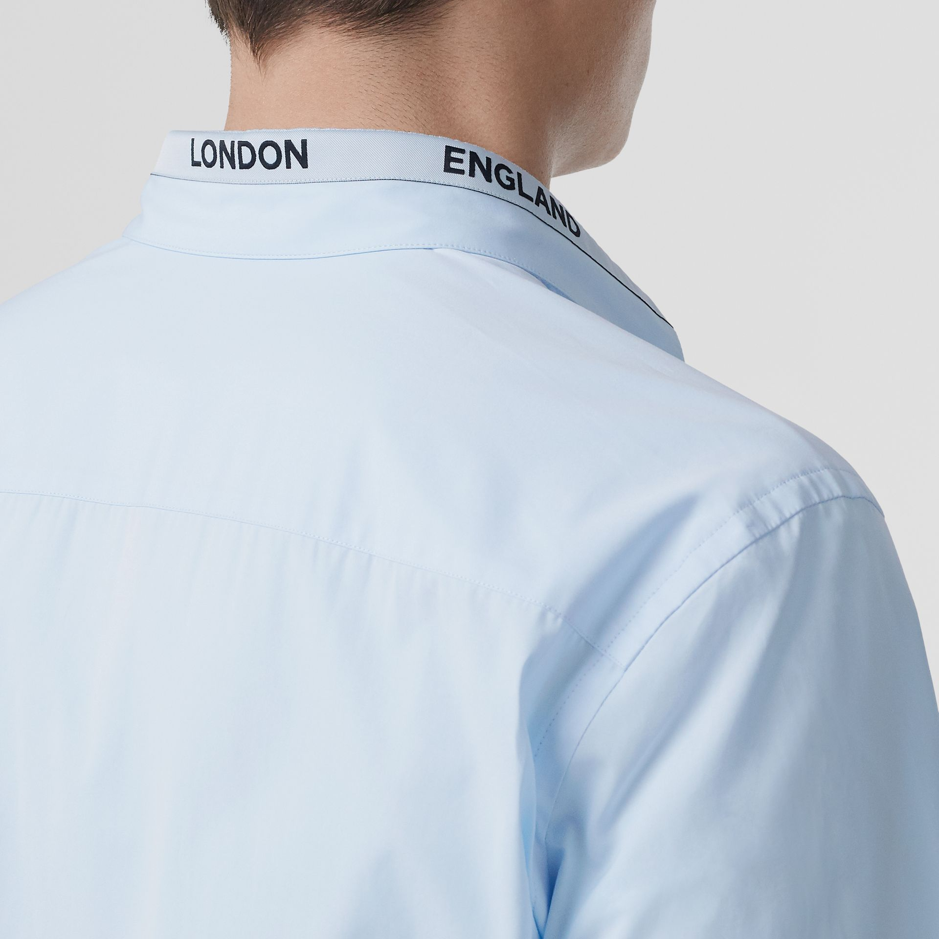 Logo Detail Cotton Poplin Shirt in Pale Blue - Men | Burberry - gallery image 4