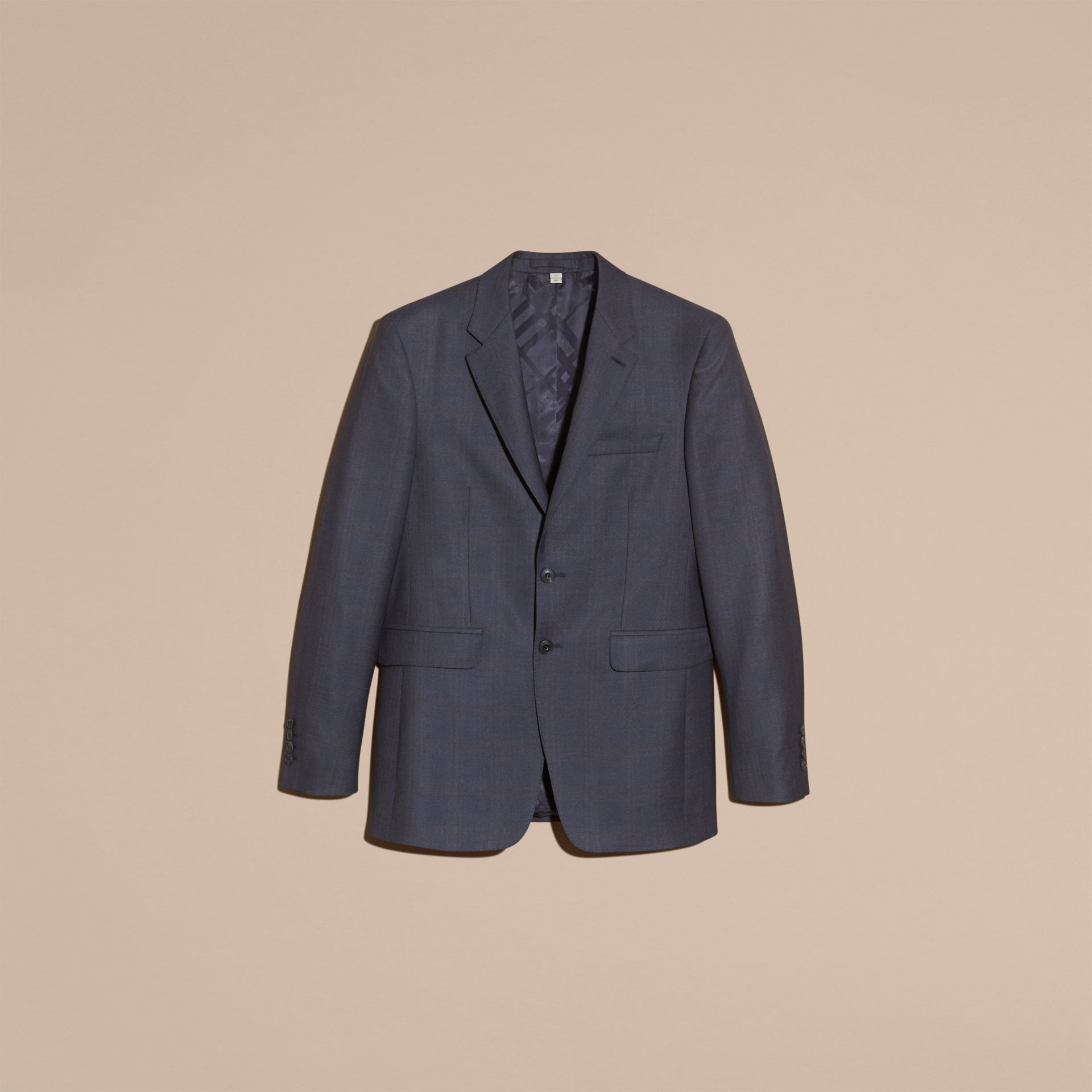 Navy Modern Fit Wool Half-canvas Suit - gallery image 4