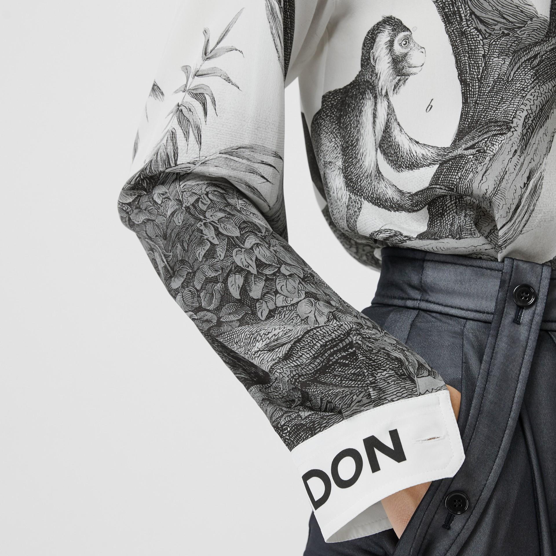 Montage Print Silk Shirt in Monochrome - Women | Burberry - gallery image 3