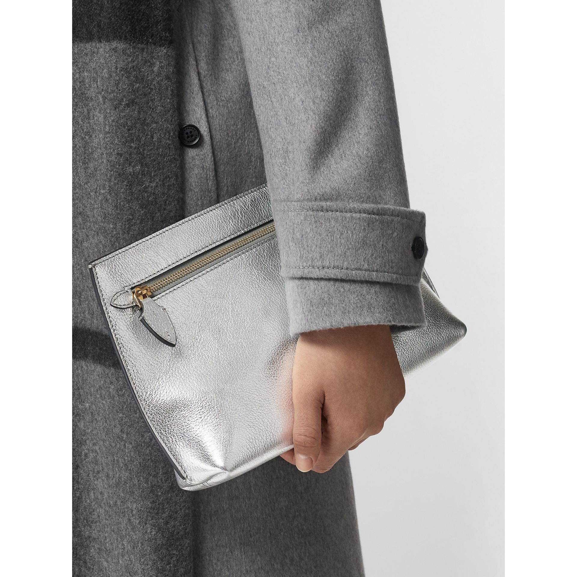 Metallic Leather Wristlet Clutch in Silver - Women | Burberry - gallery image 3