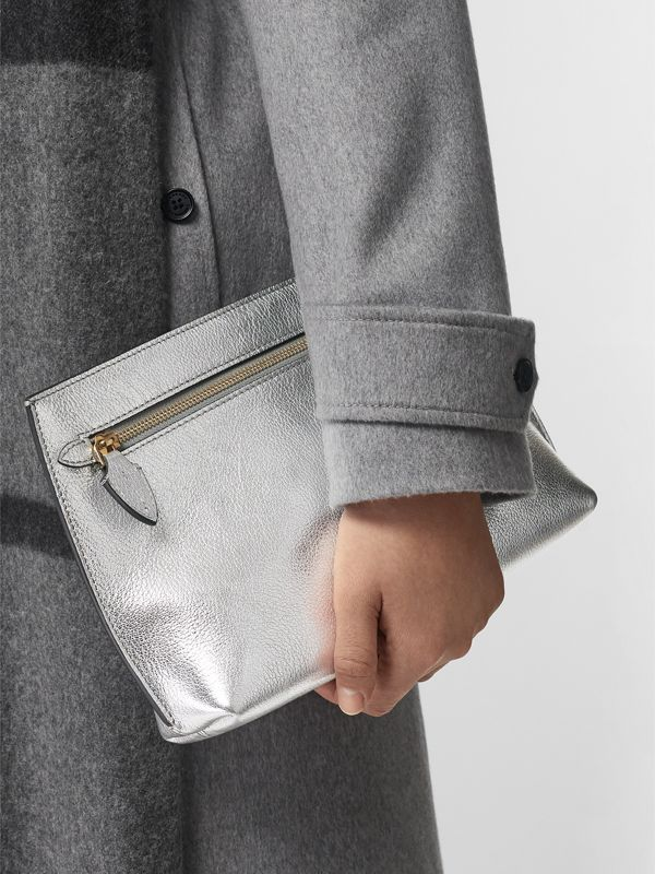 Metallic Leather Wristlet Clutch in Silver - Women | Burberry Australia - cell image 3
