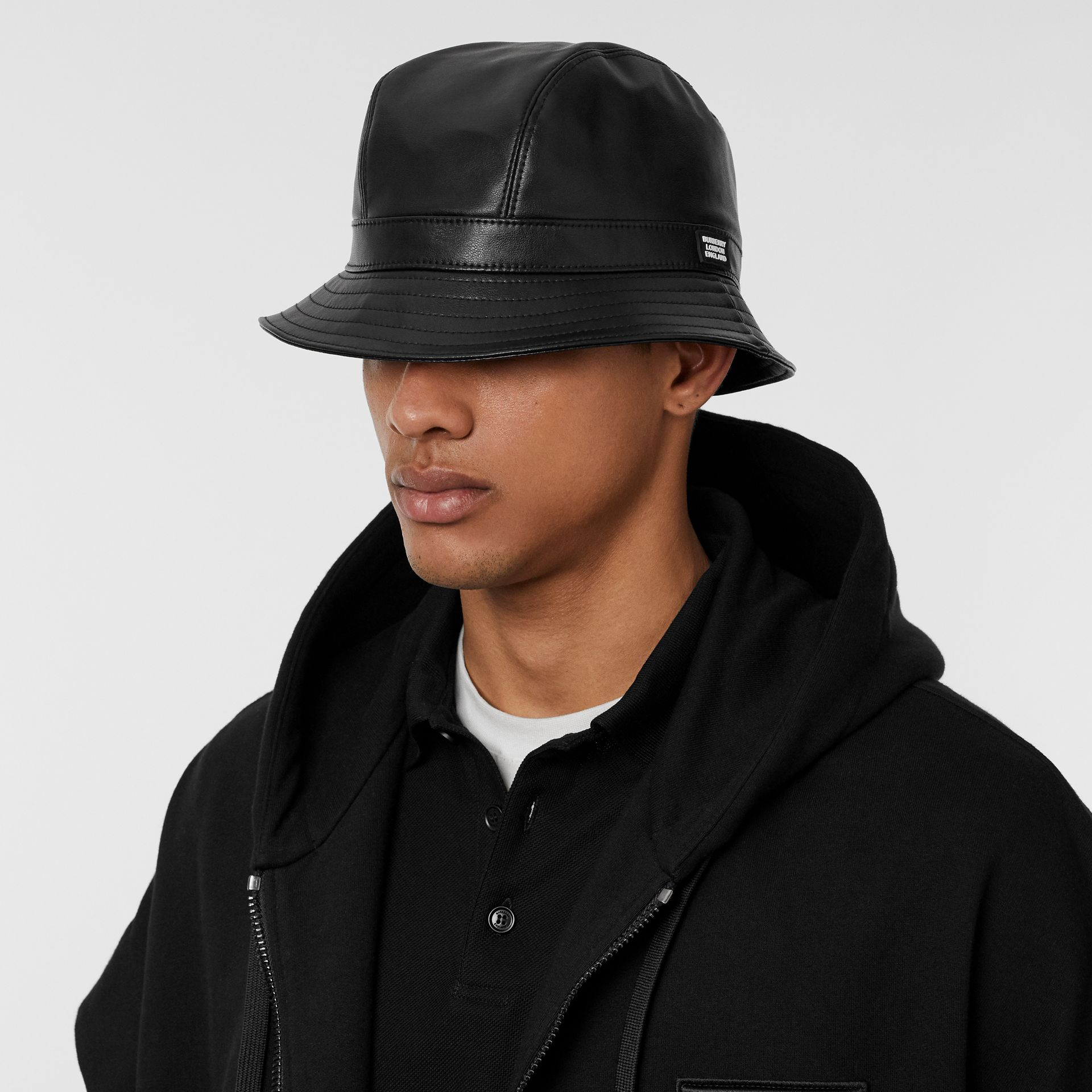 Logo Detail Faux Leather Bucket Hat in Black | Burberry United Kingdom - gallery image 3