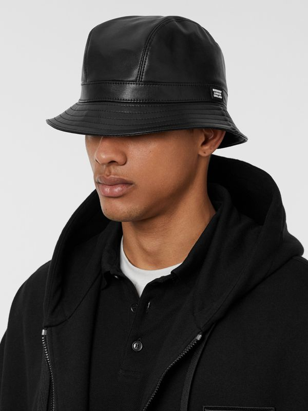 Logo Detail Faux Leather Bucket Hat in Black | Burberry - cell image 3