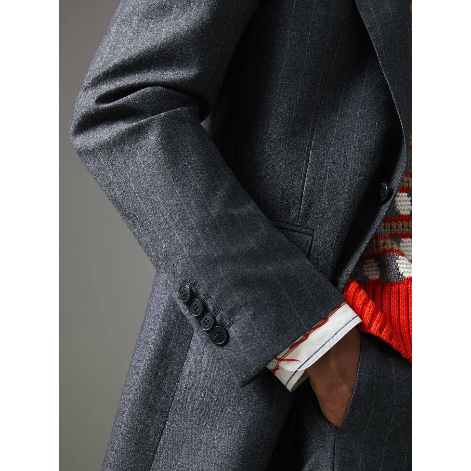 Slim Fit Pinstriped Wool Cashmere Suit in Mid Grey - Men | Burberry - gallery image 1