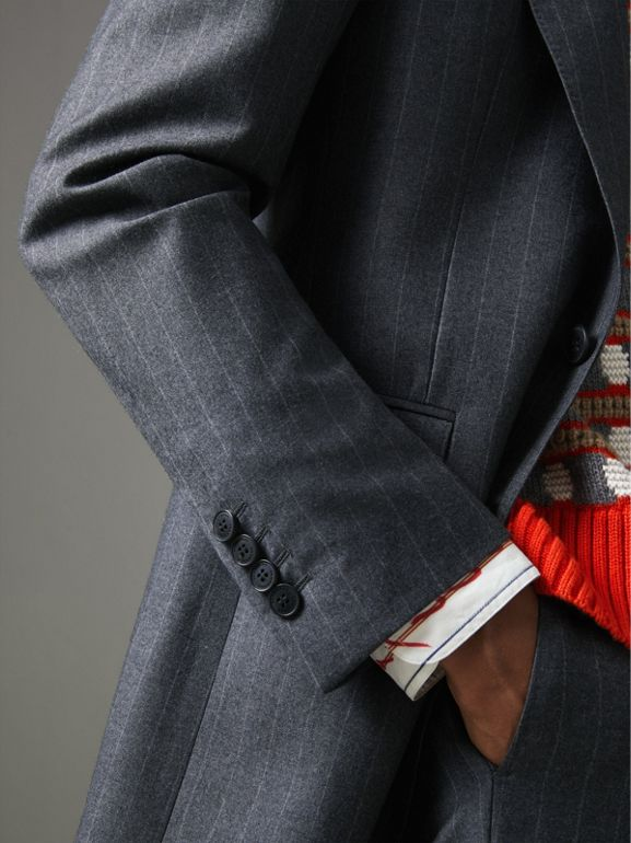 Slim Fit Pinstripe Wool Cashmere Suit in Mid Grey - Men | Burberry Canada - cell image 1