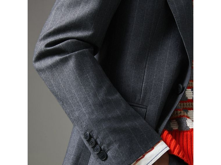 Slim Fit Pinstripe Wool Cashmere Suit in Mid Grey - Men | Burberry United States - cell image 1