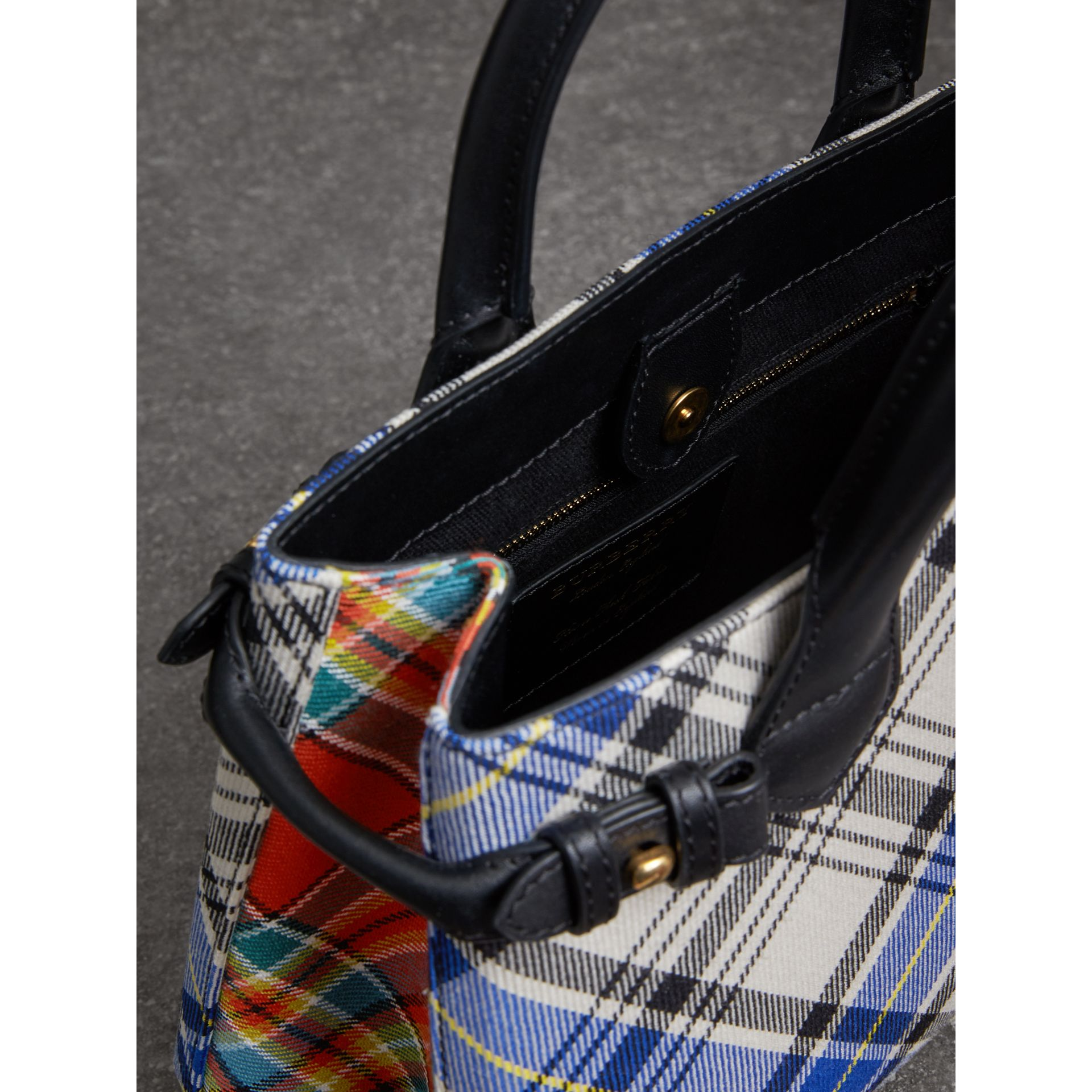 The Small Banner in Tartan and Leather in Chalk White - Women | Burberry Australia - gallery image 5
