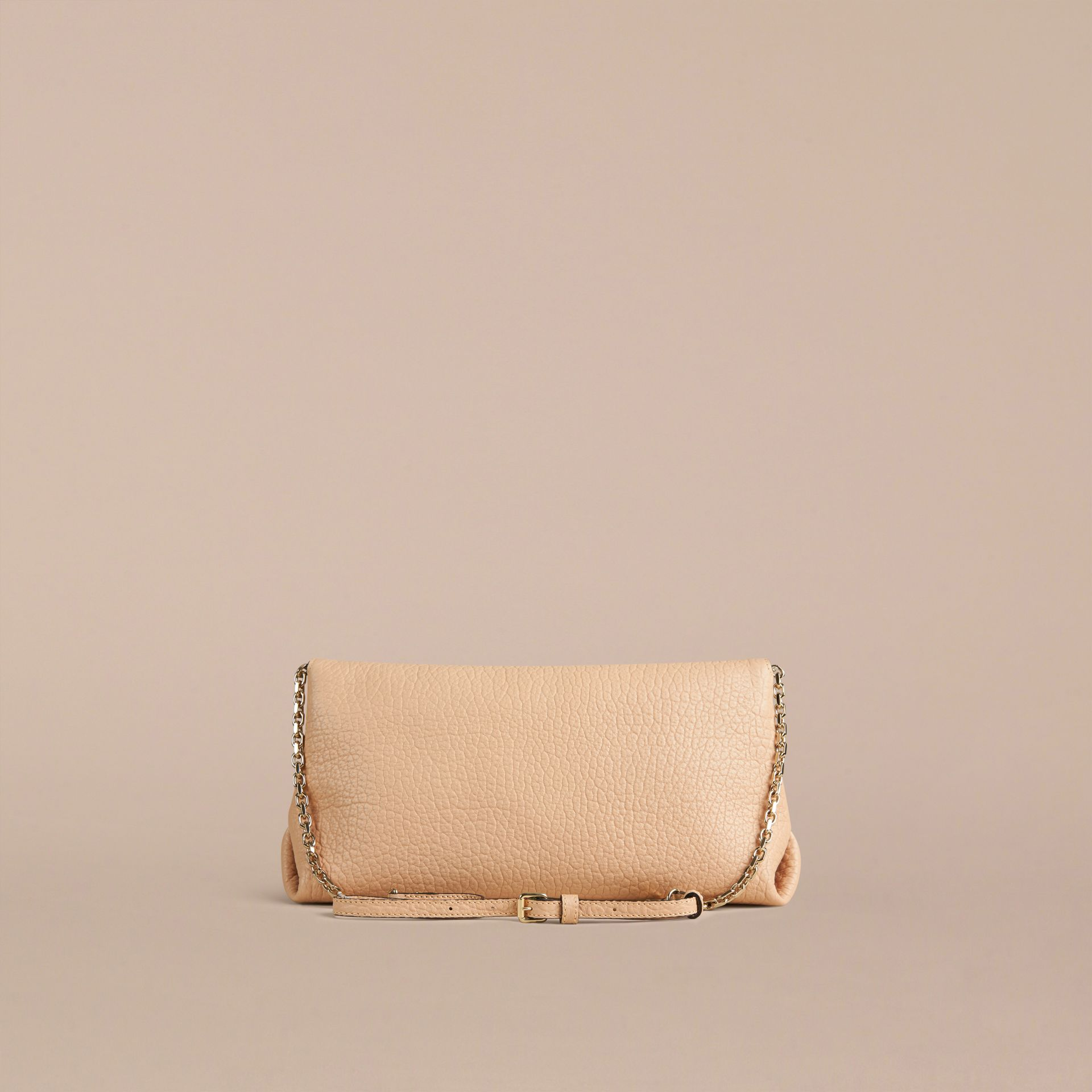 Pale apricot Medium Signature Grain Leather Clutch Bag Pale Apricot - gallery image 3