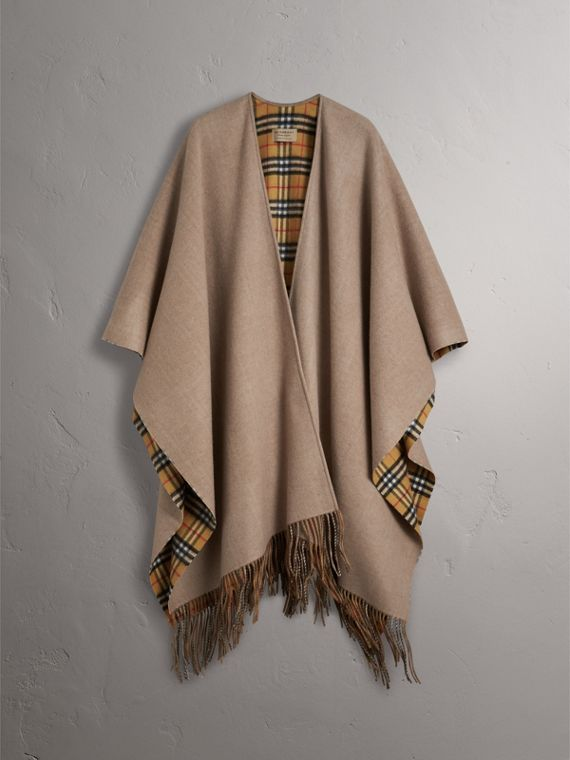 Reversible Vintage Check Cashmere Wool Poncho in Sandstone - Women | Burberry - cell image 3