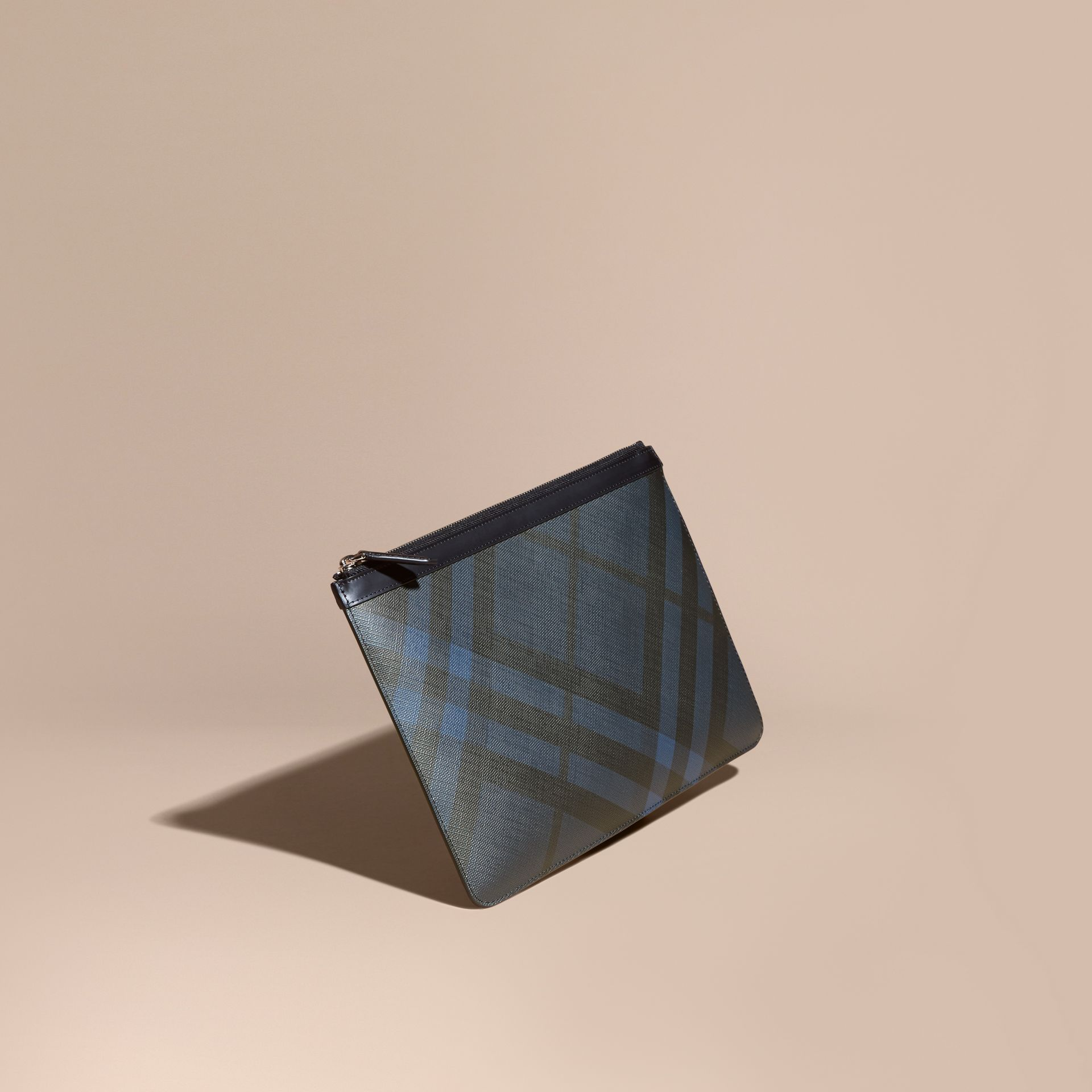 Zipped London Check Pouch in Navy/black - Men | Burberry Australia - gallery image 1