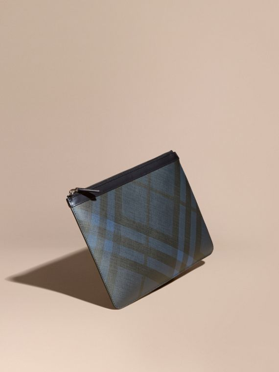 Zipped London Check Pouch in Navy/black - Men | Burberry Hong Kong