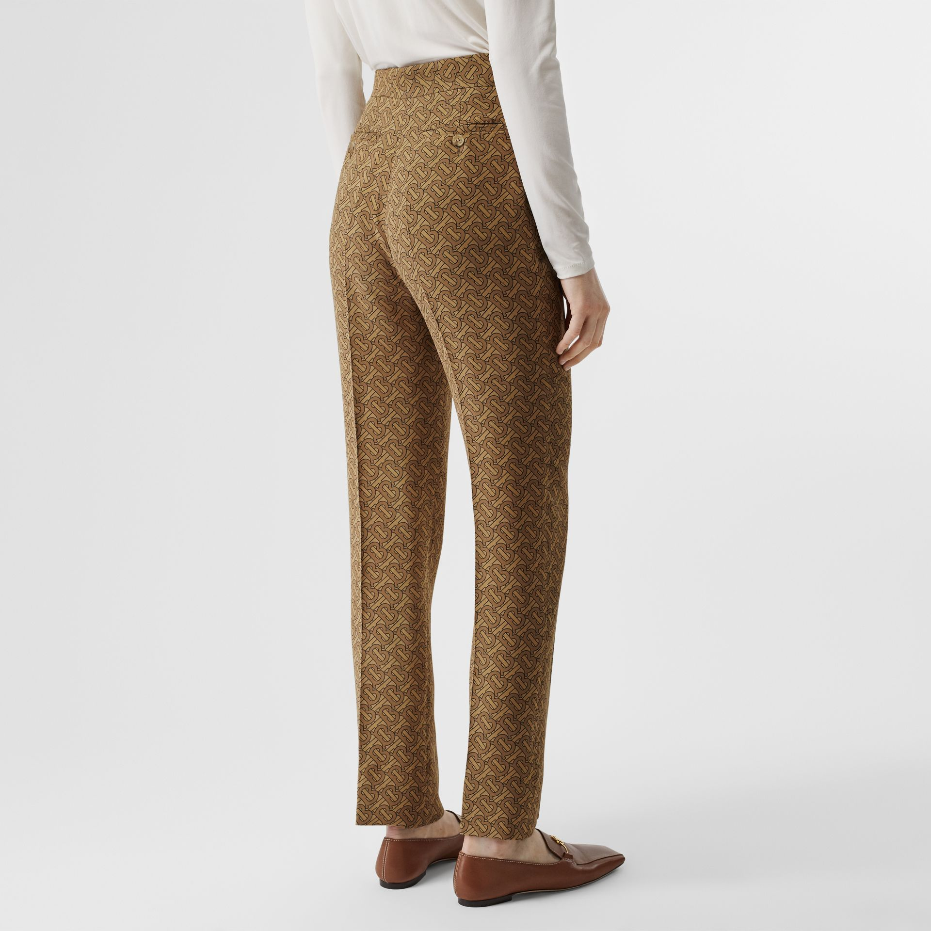 Monogram Print Silk Tailored Trousers in Tawny - Women | Burberry - gallery image 2