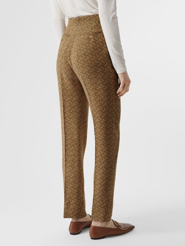 Monogram Print Silk Tailored Trousers in Tawny - Women | Burberry Singapore - cell image 2
