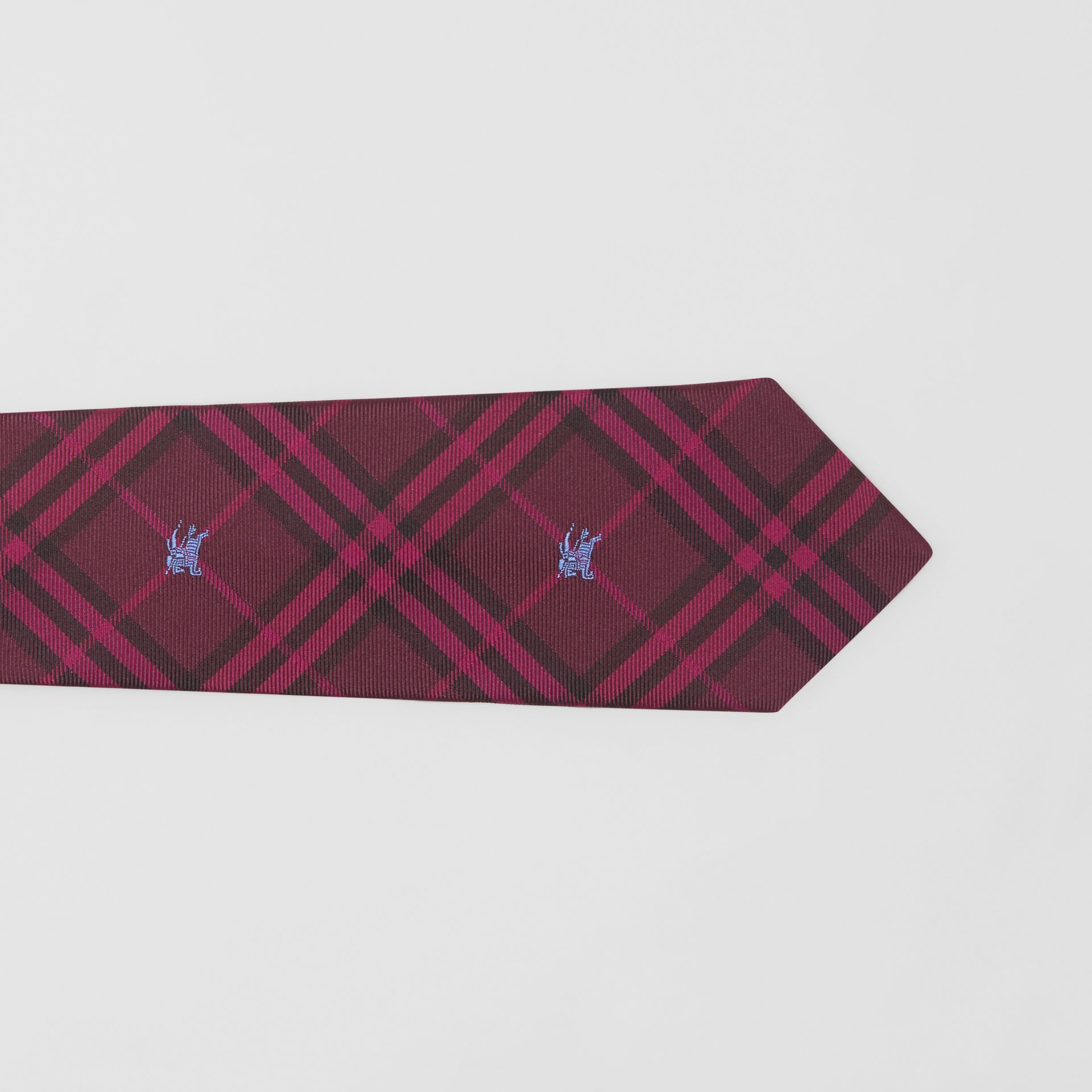 Slim Cut Equestrian Knight Check Silk Tie in Dark Elderberry - Men | Burberry Canada - gallery image 1