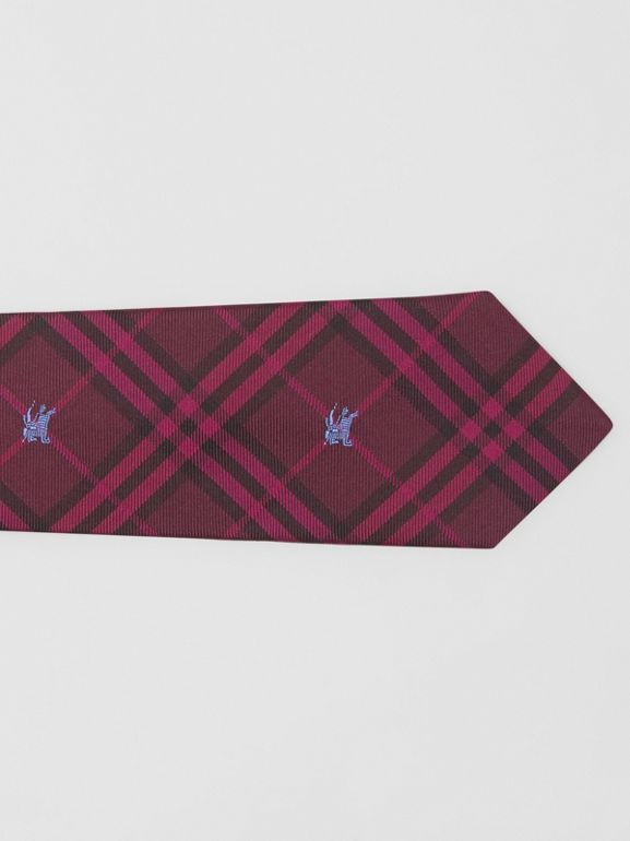 Slim Cut Equestrian Knight Check Silk Tie in Dark Elderberry - Men | Burberry United Kingdom - cell image 1