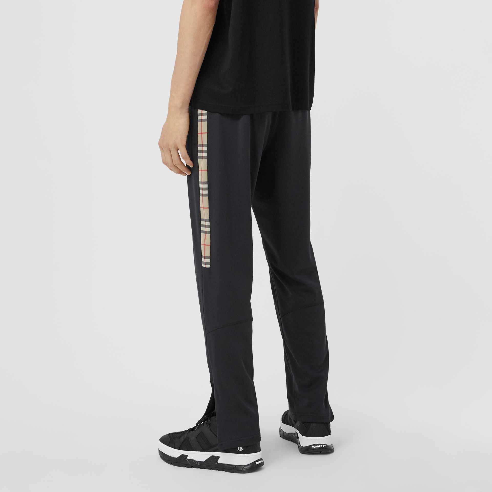 Vintage Check Trim Technical Twill Trackpants in Black - Men   Burberry - gallery image 2