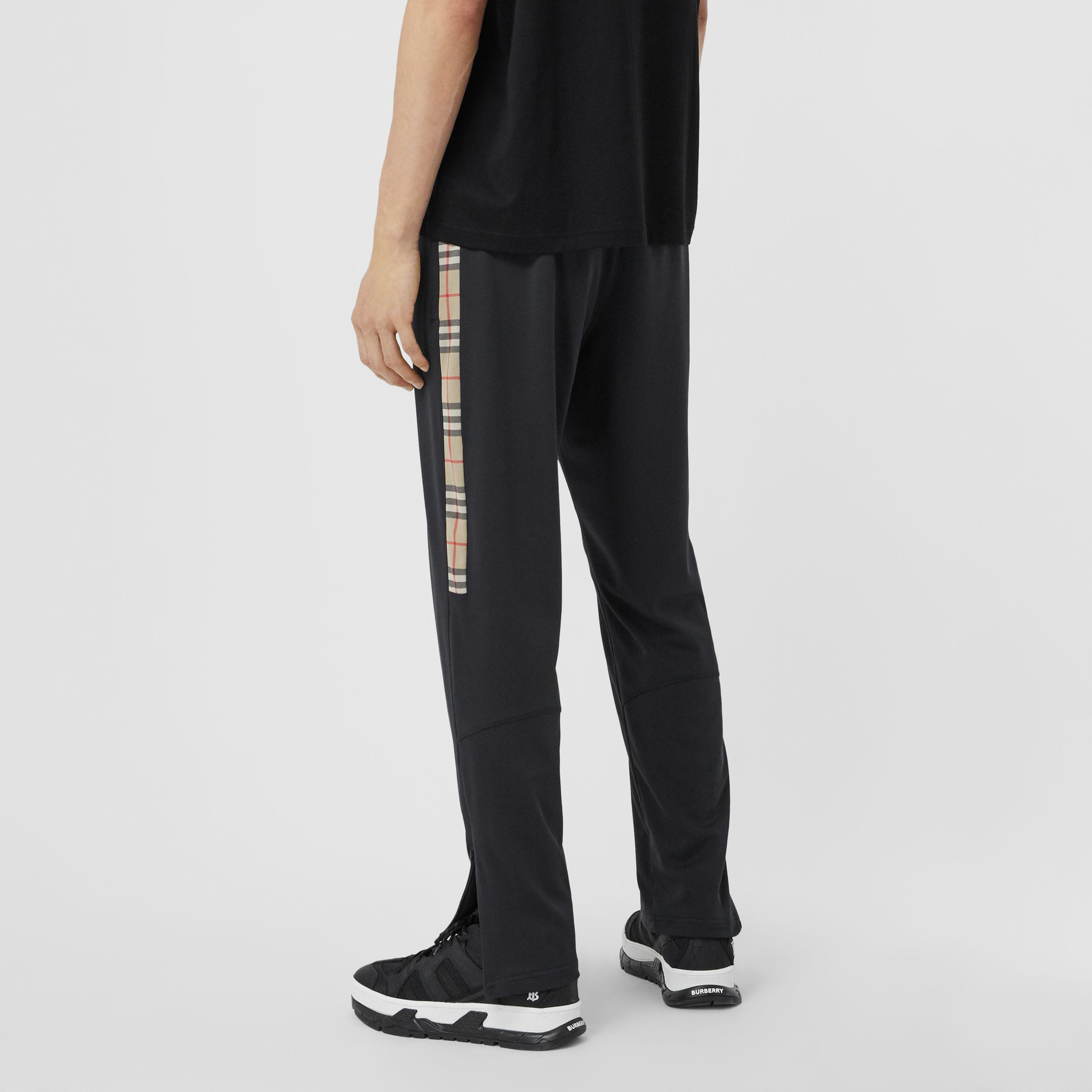 Vintage Check Detail Technical Twill Jogging Pants in Black - Men | Burberry - 3