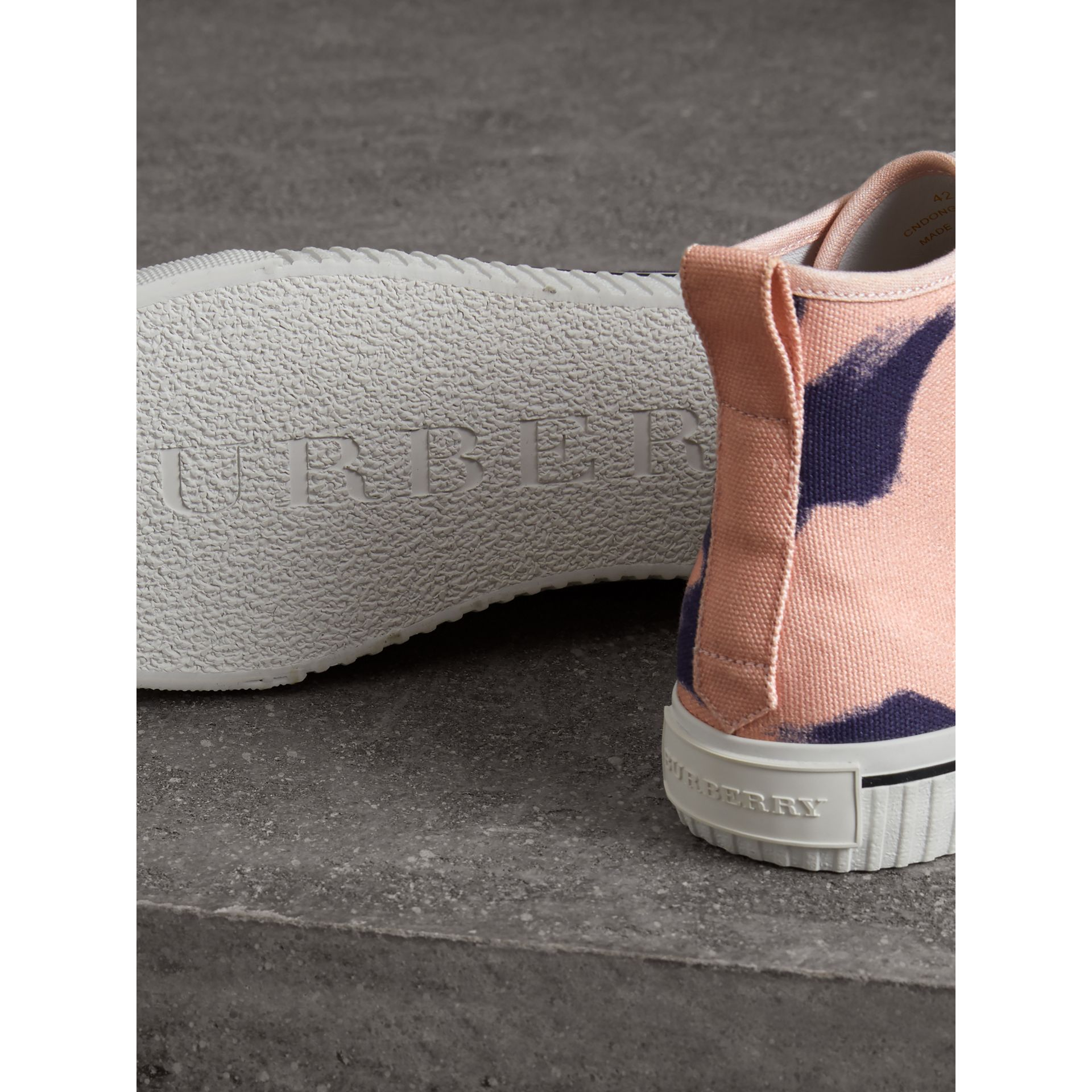 Bird Print Canvas High-top Sneakers in Apricot Pink - Men | Burberry - gallery image 1