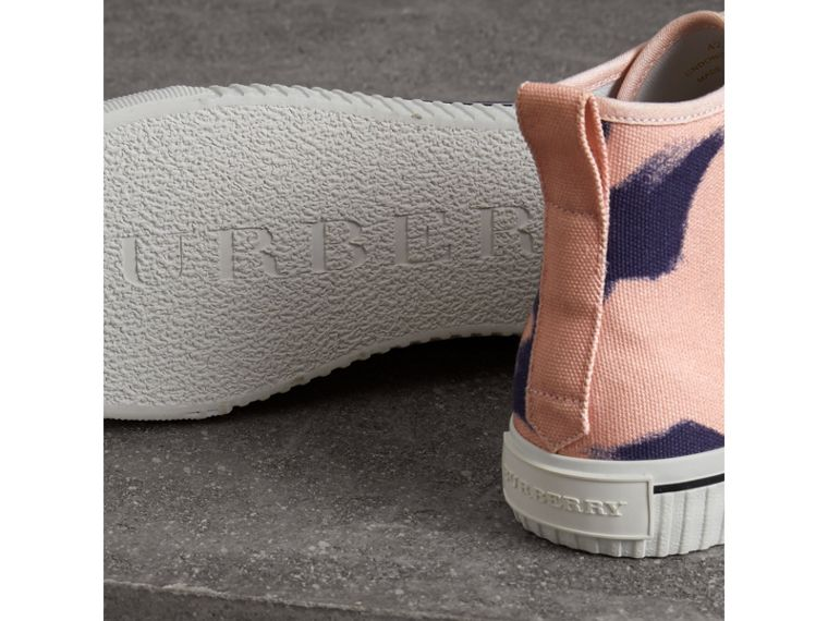 Bird Print Canvas High-top Sneakers in Apricot Pink - Men | Burberry - cell image 1