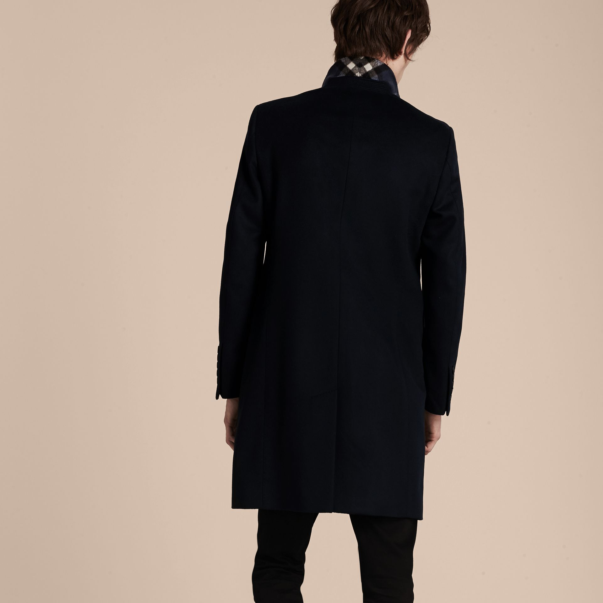 Wool Cashmere Tailored Coat Navy - gallery image 3
