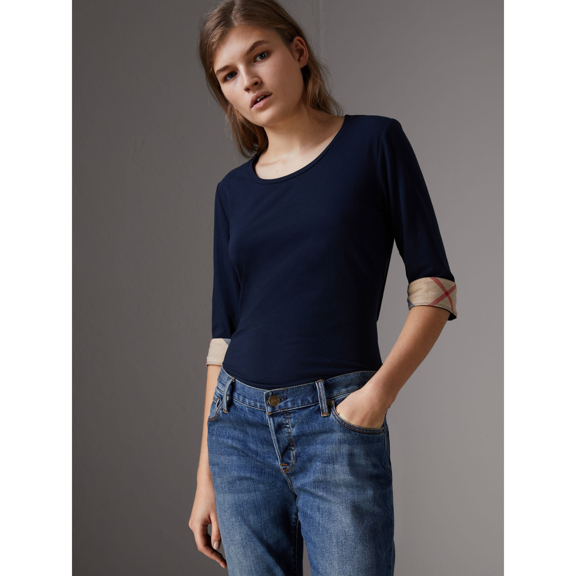 Check Cuff Stretch-Cotton Top in Navy - Women | Burberry - gallery image 1