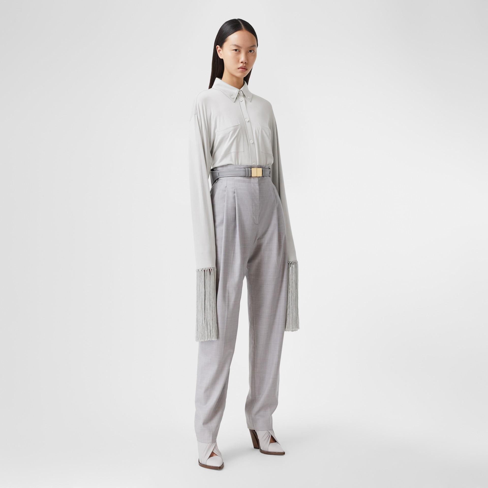 Fringed Silk Wool Jersey Shirt in Grey Melange - Women | Burberry Canada - gallery image 0