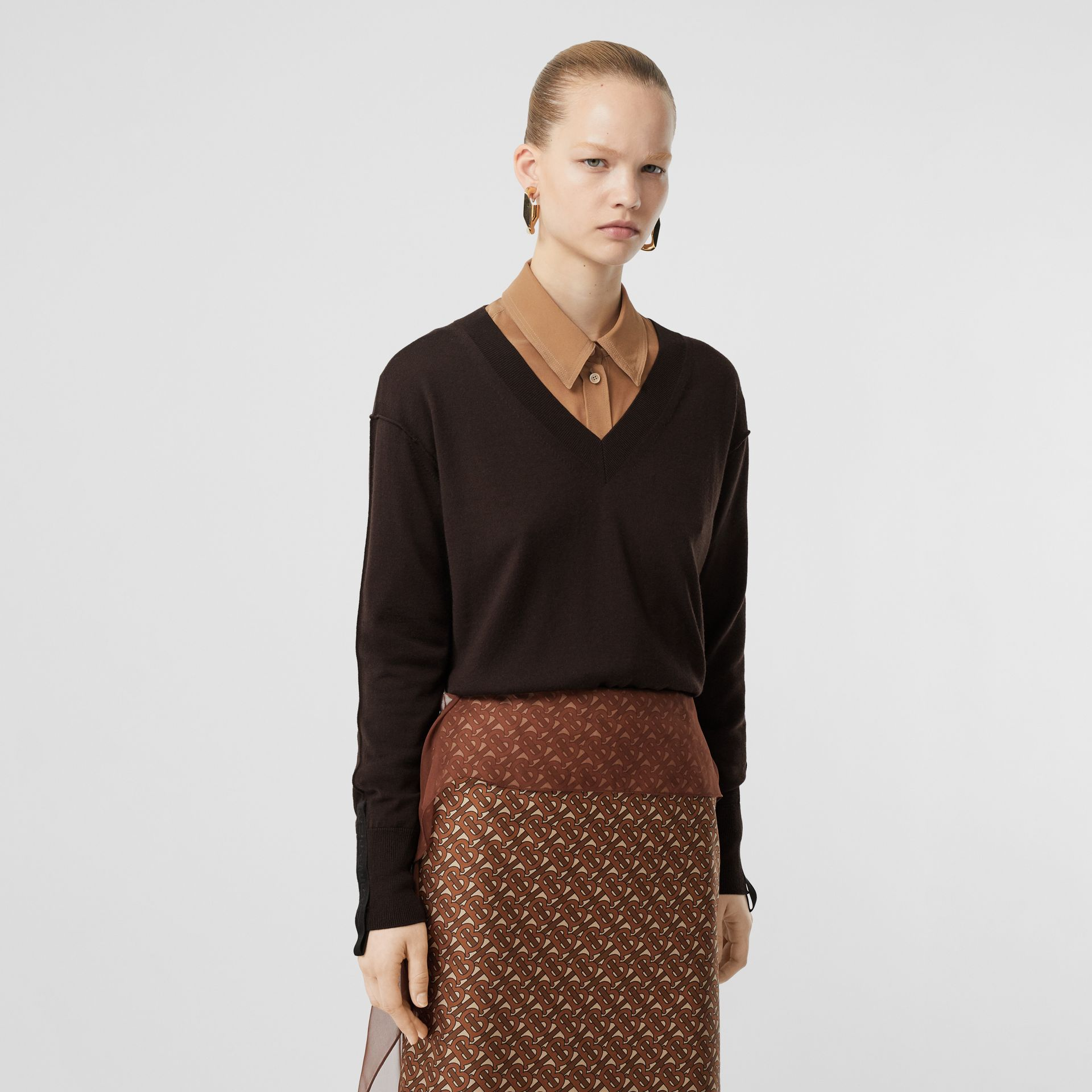 Logo Detail Merino Wool Silk Sweater in Dark Mocha - Women | Burberry - gallery image 4