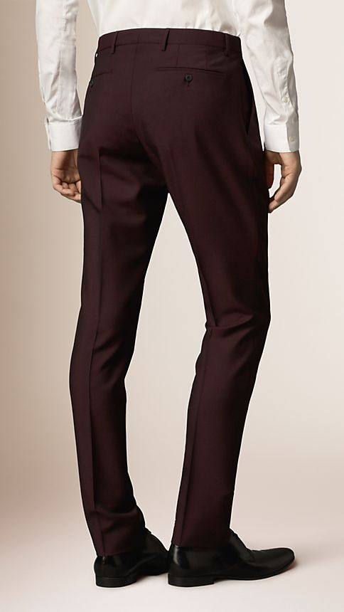 Claret Slim Fit Wool Mohair Trousers - Image 2