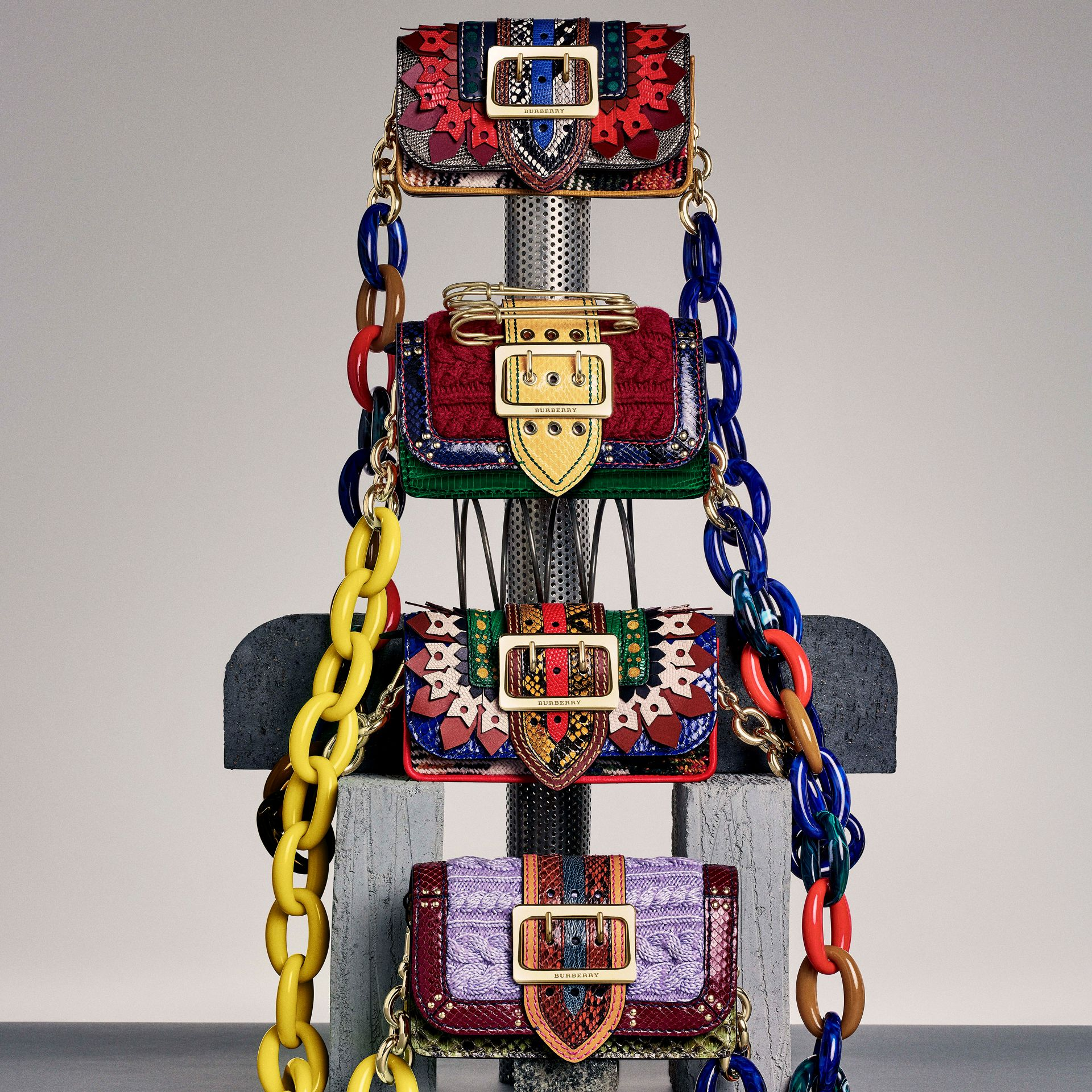 The Patchwork in Exotics and Punched Leather in Yellow/plum - Women | Burberry - gallery image 10