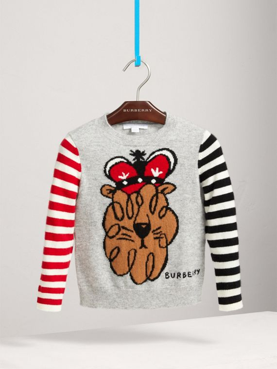 London Icons Intarsia Cashmere Sweater in Grey Melange - Boy | Burberry United Kingdom - cell image 2