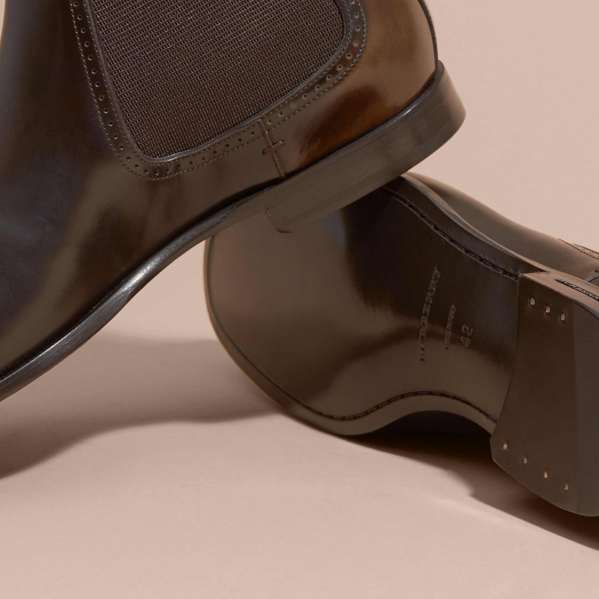 Perforated Detail Leather Chelsea Boots in Chocolate Brown - gallery image 5