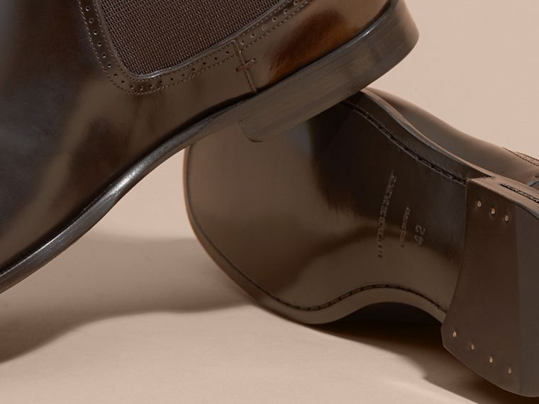 Perforated Detail Leather Chelsea Boots in Chocolate Brown - cell image 4