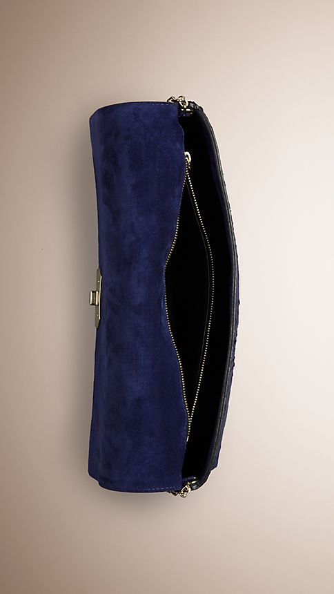 Bright regency blue Medium Nubuck Python Clutch Bag - Image 5