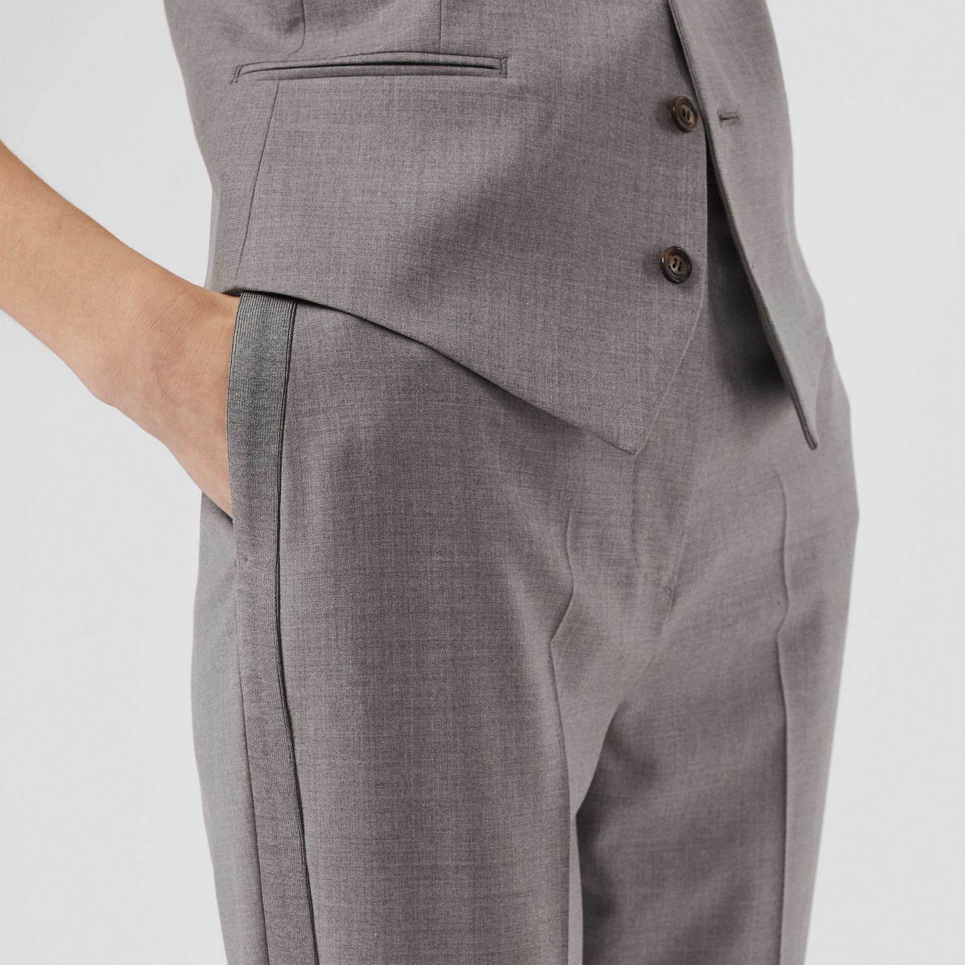 Stripe Detail Wool Trousers in Flint - Women | Burberry United States - gallery image 4