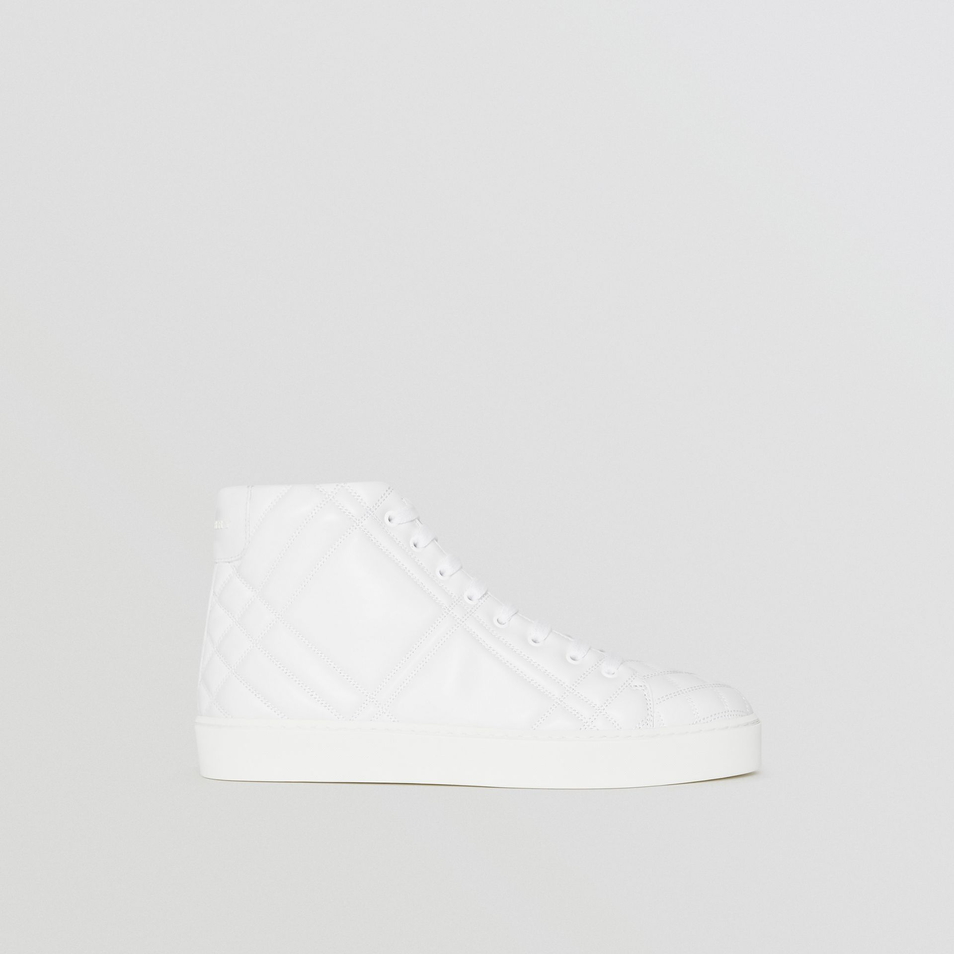 Check-quilted Leather High-top Sneakers in Optic White - Women | Burberry United States - gallery image 5