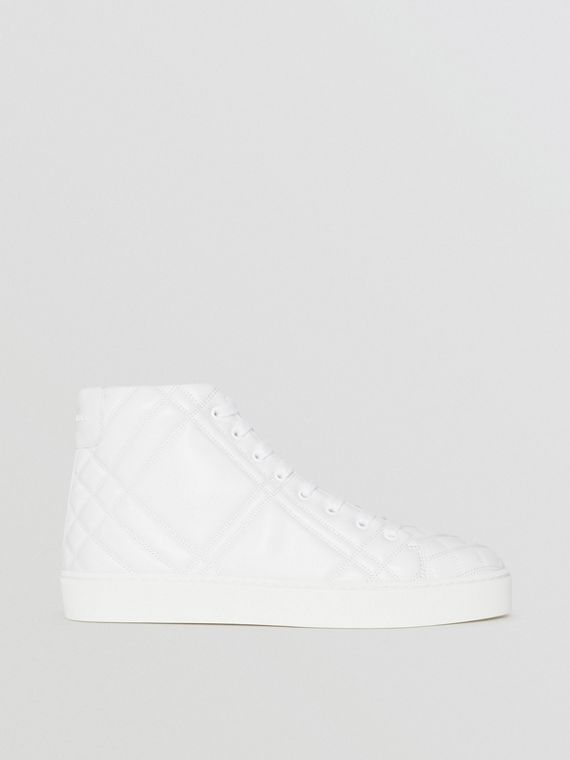 Check-quilted Leather High-top Sneakers in Optic White