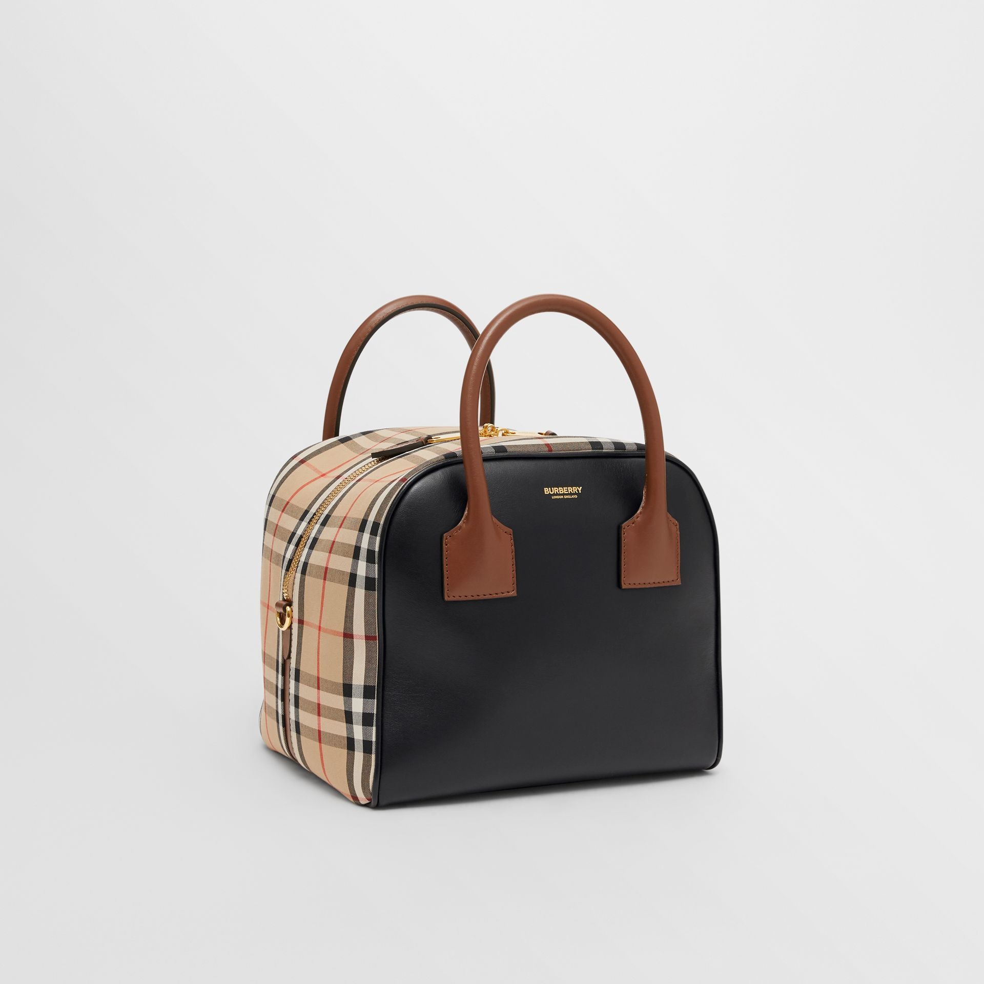 Small Leather and Vintage Check Cube Bag in Archive Beige - Women | Burberry United Kingdom - gallery image 4