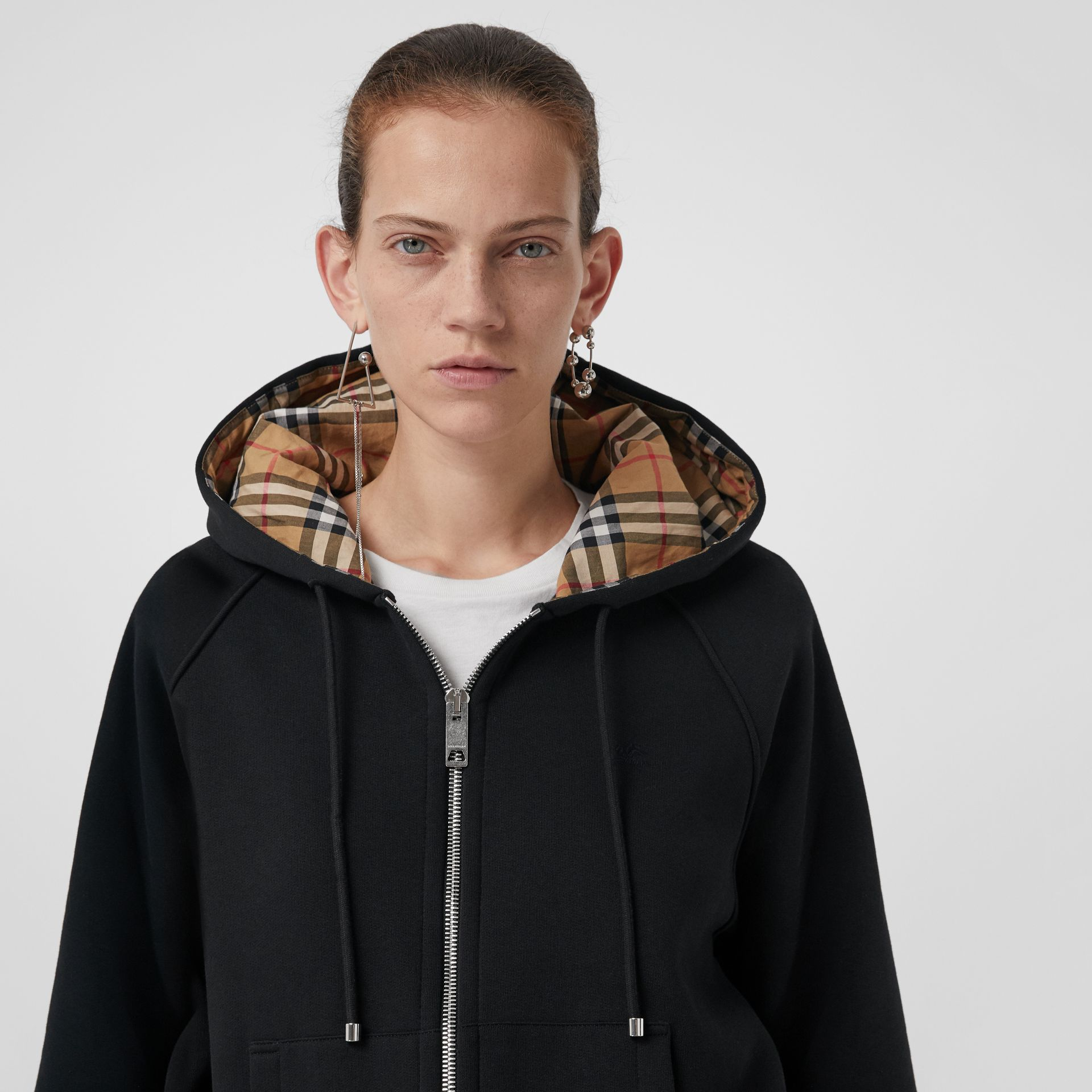 Vintage Check Detail Jersey Hooded Top in Black - Women | Burberry United Kingdom - gallery image 1