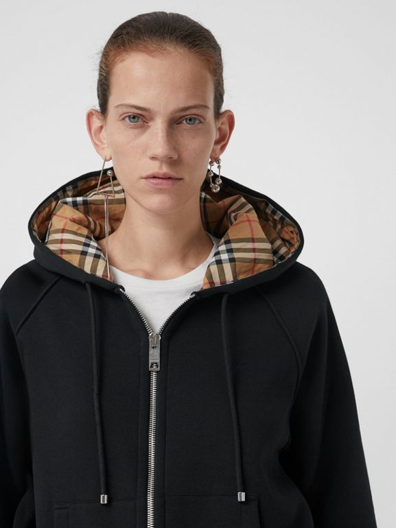 Vintage Check Detail Jersey Hooded Top in Black - Women | Burberry Canada - cell image 1