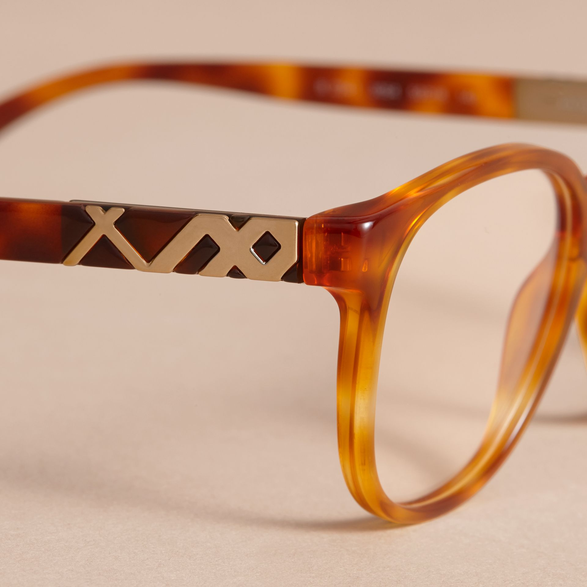 Check Detail Round Optical Frames Amber - gallery image 2