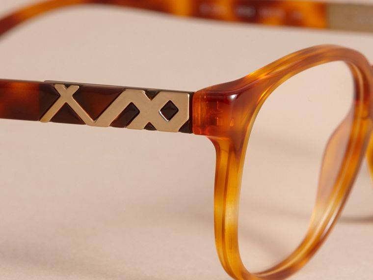Check Detail Round Optical Frames Amber - cell image 1