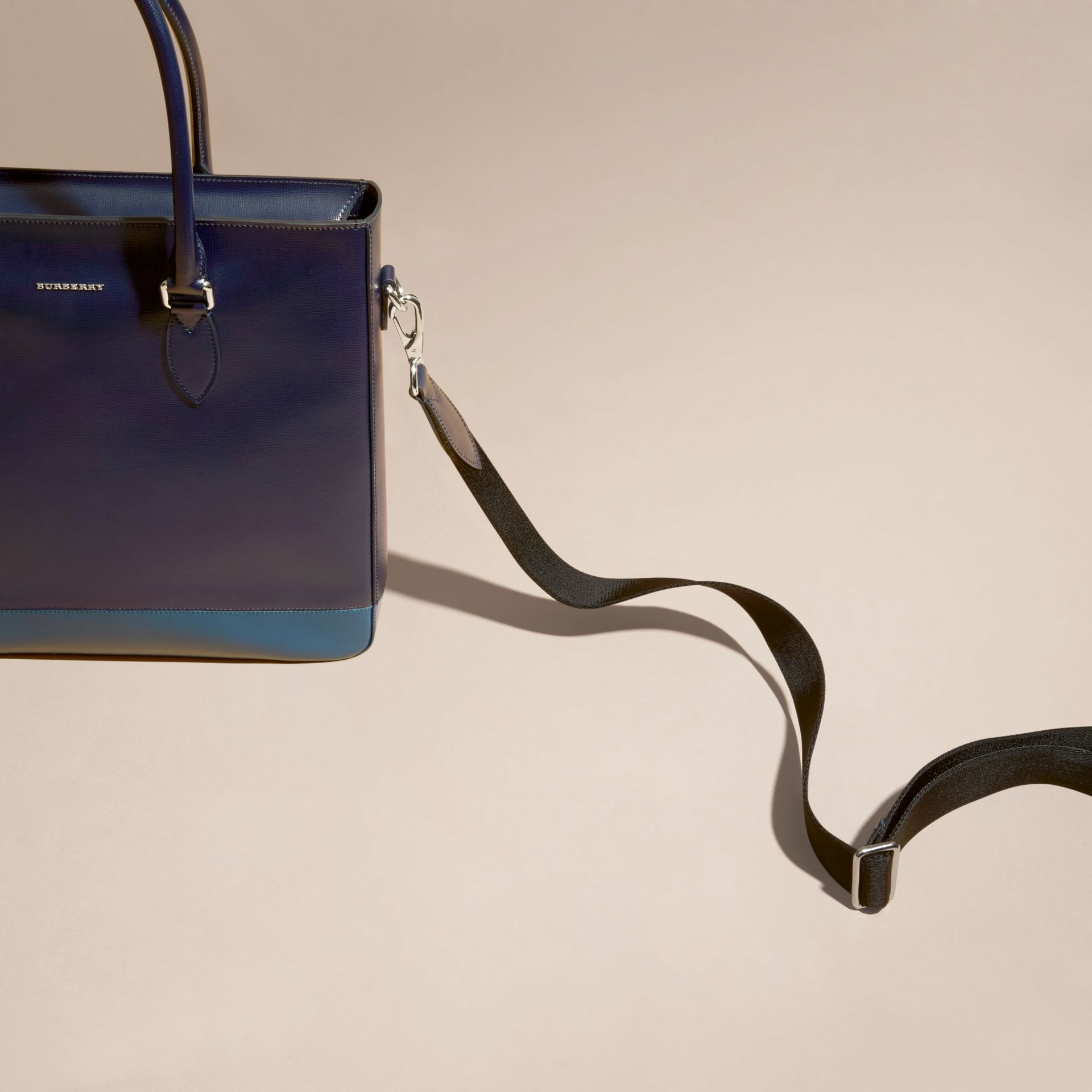Dark navy/mineral blue Panelled London Leather Tote Bag Dark Navy/mineral Blue - gallery image 2