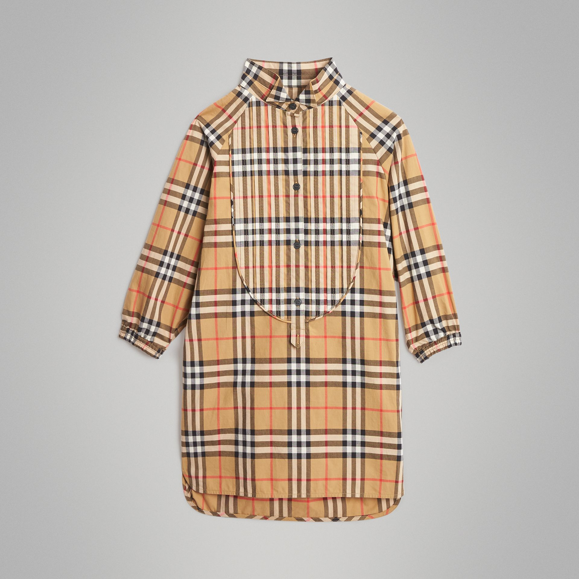 Vintage Check Cotton Shirt Dress in Antique Yellow | Burberry United Kingdom - gallery image 0